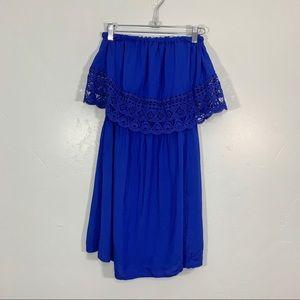 Xhilaration | Royal Blue Strapless Midi Sun Dress